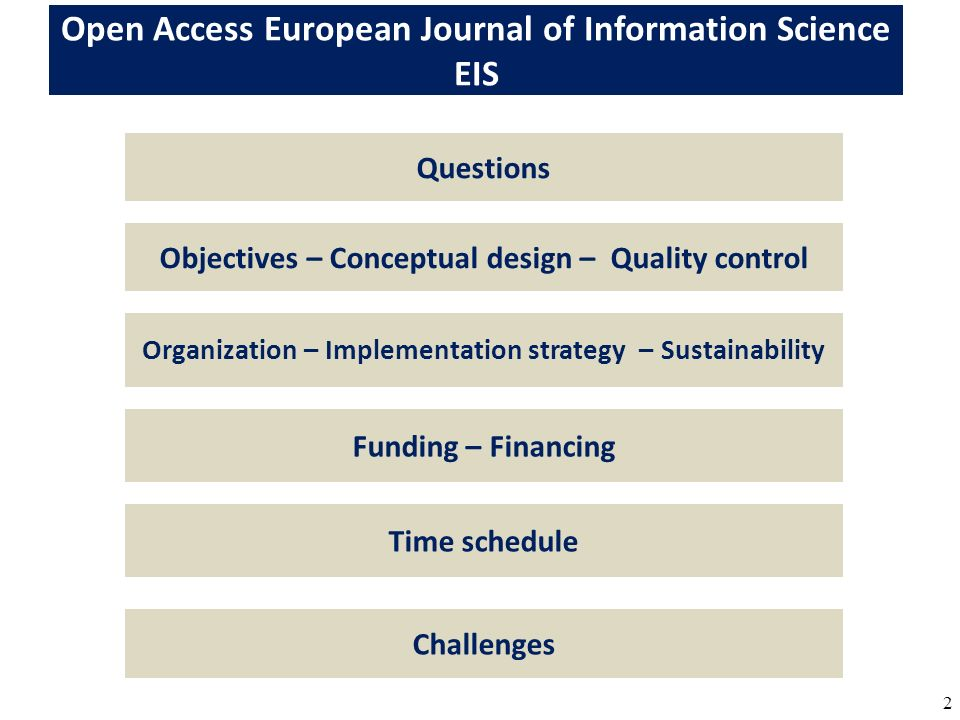 2 Funding – Financing Objectives – Conceptual design – Quality control Organization – Implementation strategy – Sustainability Open Access European Jo