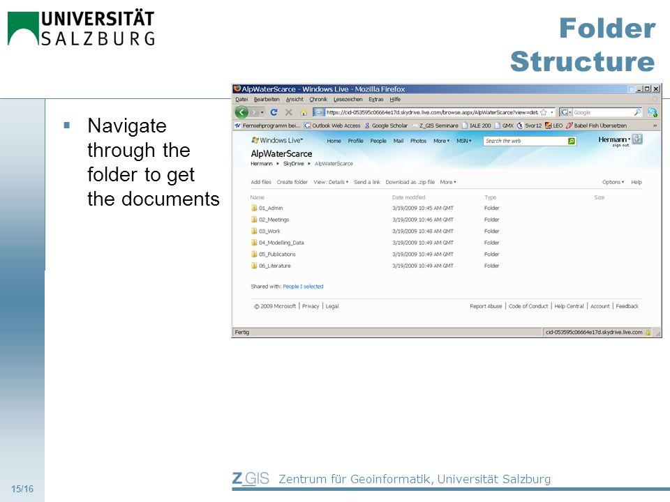 Zentrum für Geoinformatik, Universität Salzburg Folder Structure Navigate through the folder to get the documents 15/16