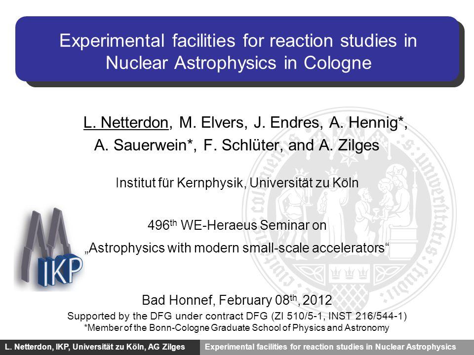 Experimente für den astrophysikalischen p-Prozess J. Hasper, IKP, niversität zu Köln, AG Zilges L. Netterdon, IKP, Universität zu Köln, AG ZilgesExper