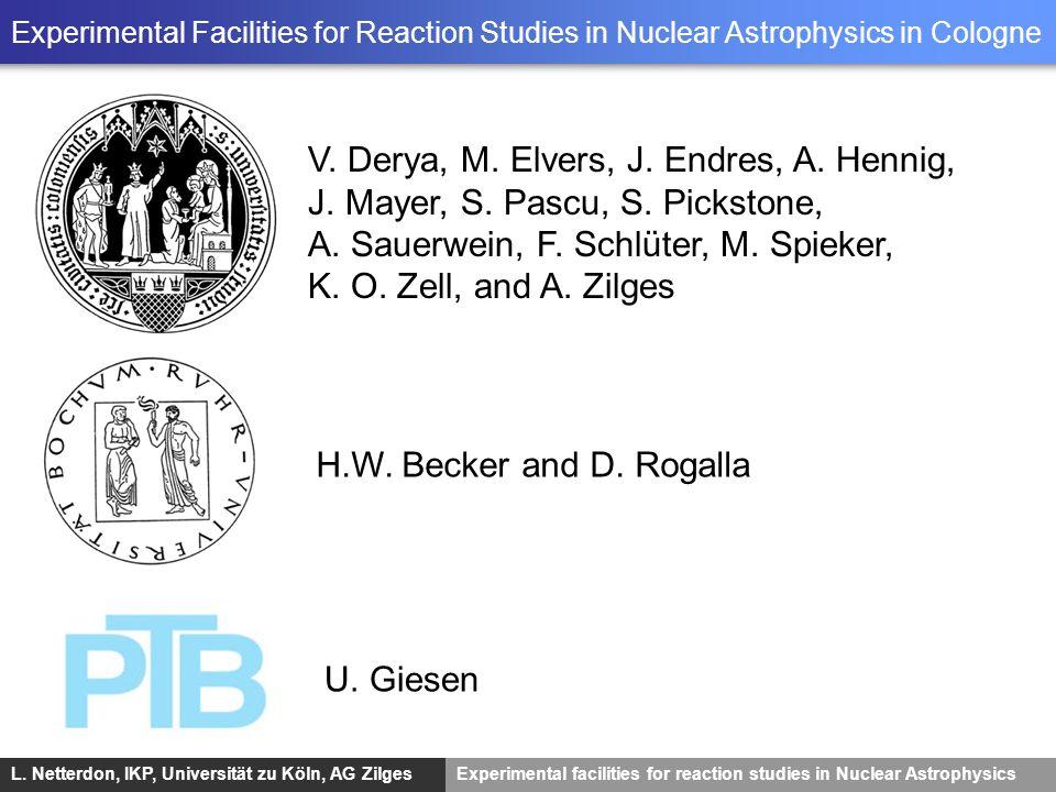 L. Netterdon, IKP, Universität zu Köln, AG ZilgesExperimental facilities for reaction studies in Nuclear Astrophysics Experimental Facilities for Reac