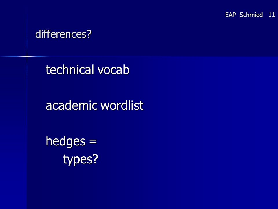 differences technical vocab academic wordlist hedges = types EAP Schmied 11
