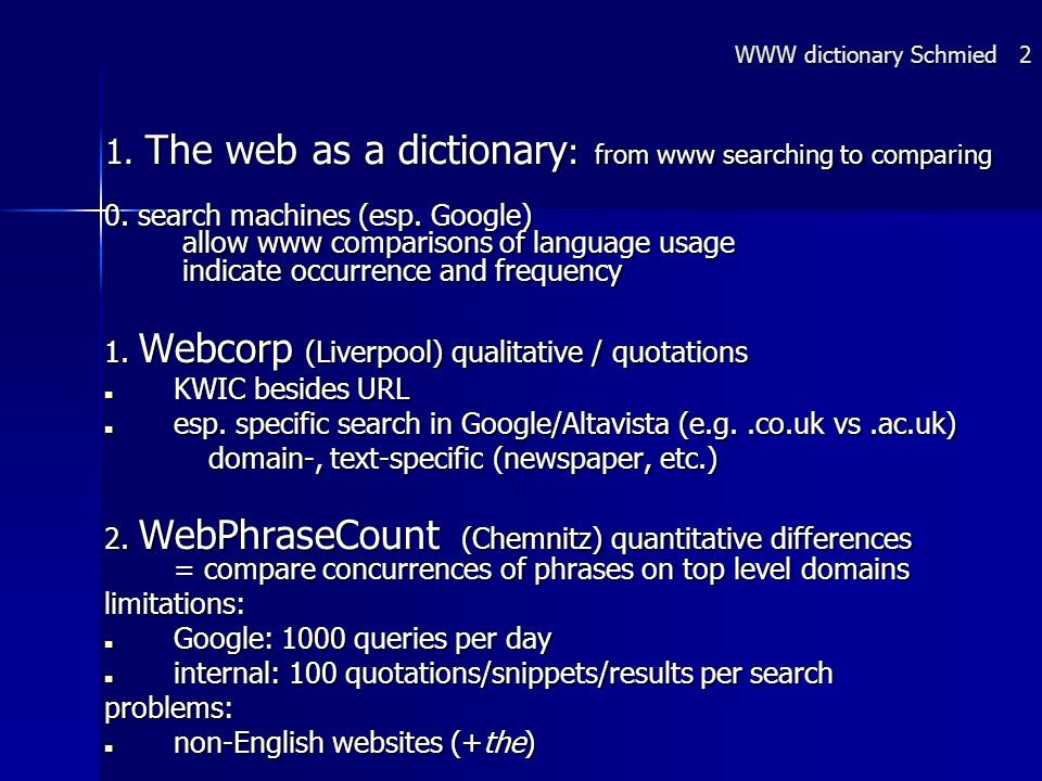 1. The web as a dictionary : from www searching to comparing 0.