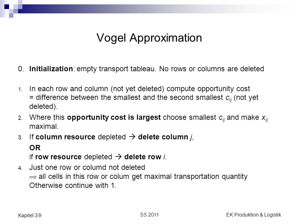 SS 2011EK Produktion & Logistik Kapitel 3/9 Vogel Approximation 0.Initialization: empty transport tableau. No rows or columns are deleted 1. In each r
