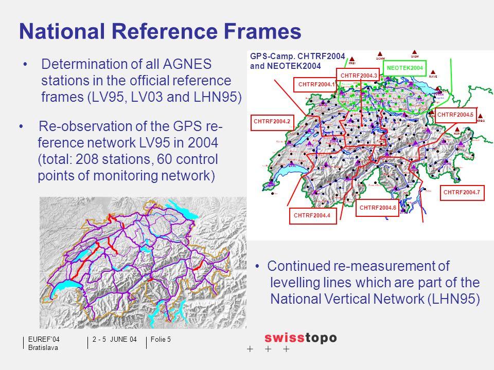 2 - 5 JUNE 04EUREF 04 Bratislava Folie 5 National Reference Frames Determination of all AGNES stations in the official reference frames (LV95, LV03 and LHN95) LECH FLDK KOPS KRBG LIND FREI RAVE SIGM SCHW GPS-Camp.