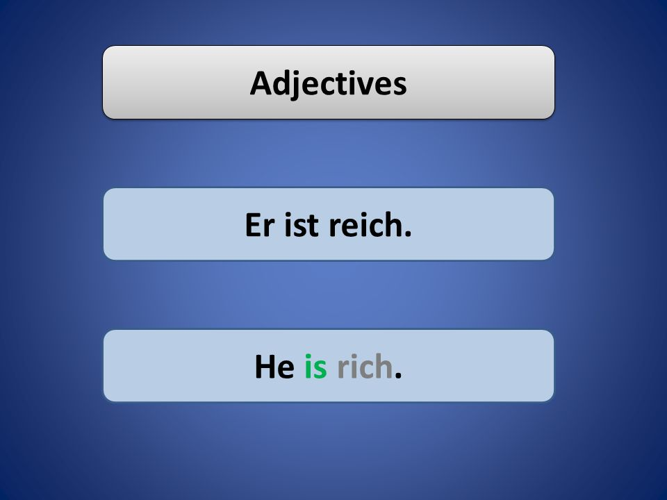 Adjectives Er ist reich. He is rich.