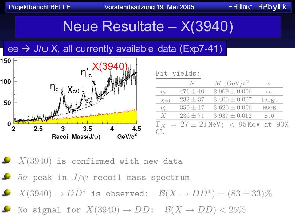 Projektbericht BELLE Vorstandssitzung 19. Mai 2005 -3]mc 32by[k Neue Resultate – X(3940) ee J/ψ X, all currently available data (Exp7-41) ηcηc η c χ c