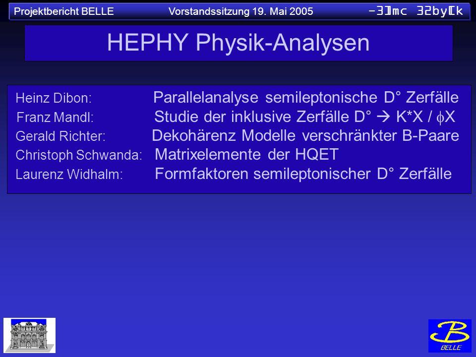 Projektbericht BELLE Vorstandssitzung 19. Mai 2005 -3]mc 32by[k HEPHY Physik-Analysen Heinz Dibon: Parallelanalyse semileptonische D° Zerfälle Franz M