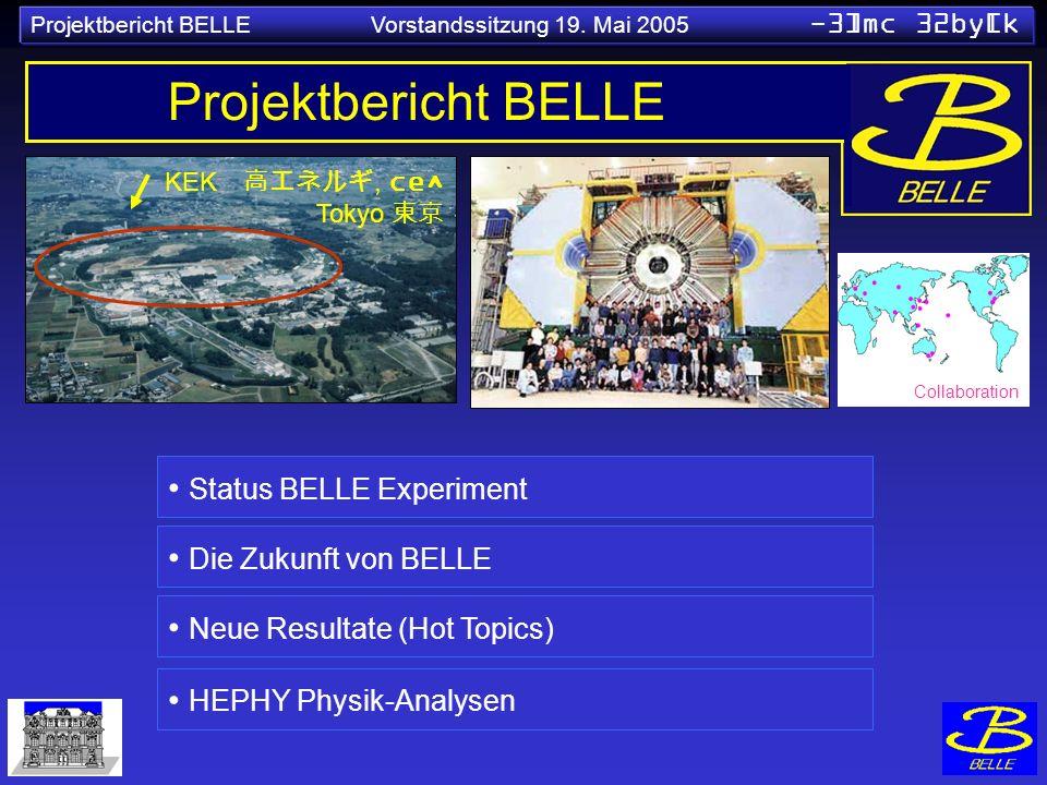KEK, ce^ Tokyo Projektbericht BELLE Status BELLE Experiment Die Zukunft von BELLE Neue Resultate (Hot Topics) Collaboration HEPHY Physik-Analysen