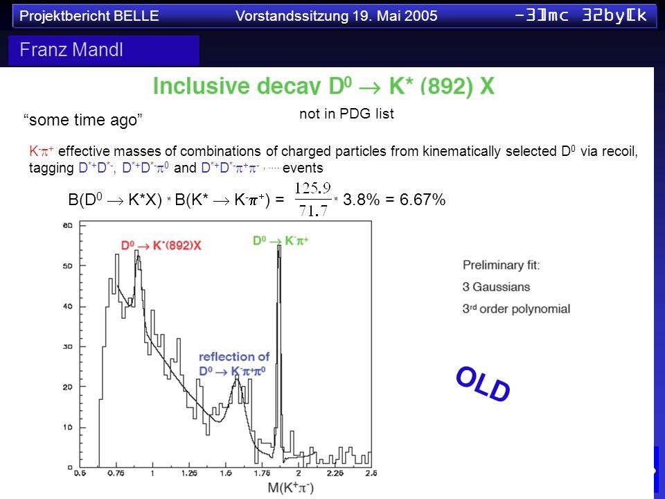 Projektbericht BELLE Vorstandssitzung 19. Mai 2005 -3]mc 32by[k some time ago B(D 0 K*X) * B(K* K - + ) = * 3.8% = 6.67% K - + effective masses of com