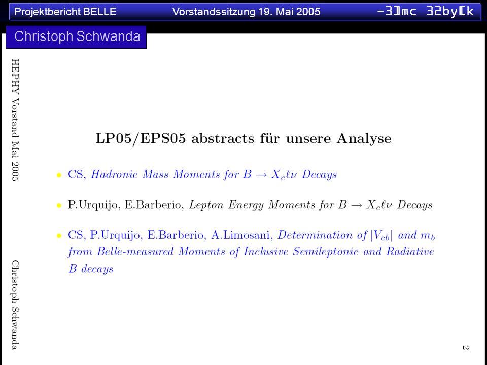 Projektbericht BELLE Vorstandssitzung 19. Mai 2005 -3]mc 32by[k Christoph Schwanda