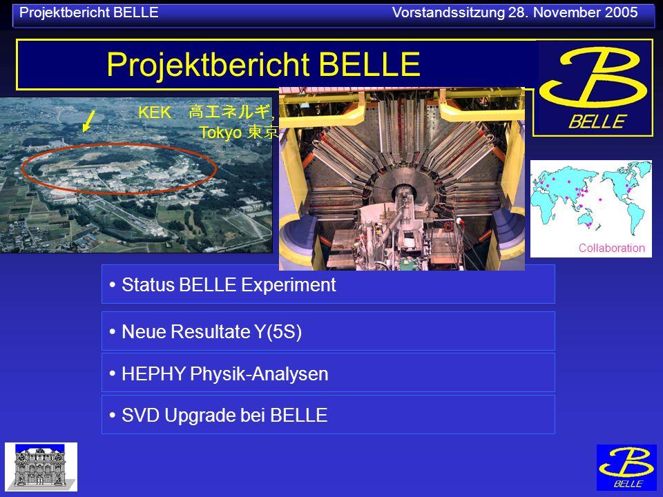 Projektbericht BELLE Vorstandssitzung 28. November 2005 KEK, Tokyo Projektbericht BELLE Status BELLE Experiment SVD Upgrade bei BELLE Neue Resultate Y