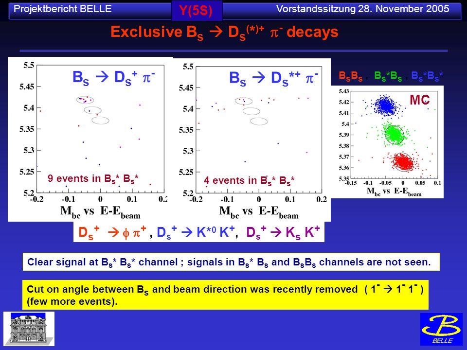Projektbericht BELLE Vorstandssitzung 28. November 2005 Exclusive B s D s ( * )+ - decays B s B s, B s *B s, B s *B s * D s + +, D s + K* 0 K +, D s +