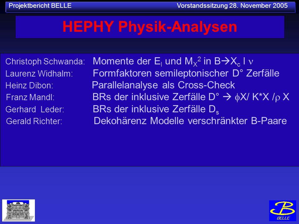 Projektbericht BELLE Vorstandssitzung 28. November 2005 HEPHY Physik-Analysen Christoph Schwanda: Momente der E l und M X 2 in B X c l Laurenz Widhalm