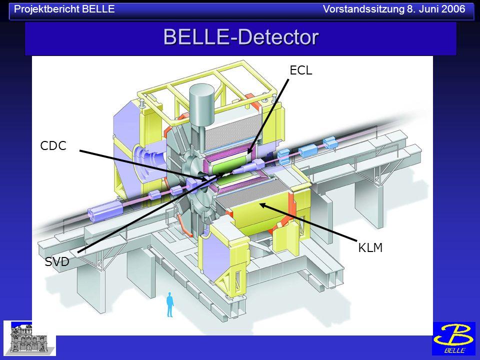 Projektbericht BELLE Vorstandssitzung 8. Juni 2006 BELLE-Detector CDC KLM ECL SVD