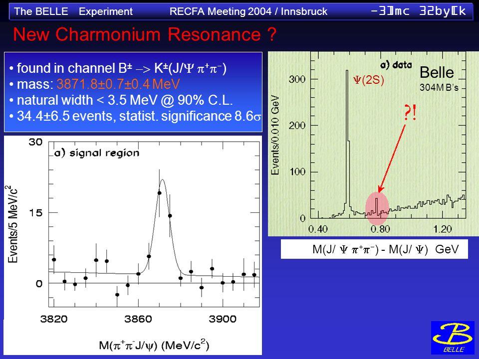 The BELLE Experiment RECFA Meeting 2004 / Innsbruck -3]mc 32by[k New Charmonium Resonance ? found in channel B ± K ± (J/ ) mass: 3871.8±0.7±0.4 MeV na