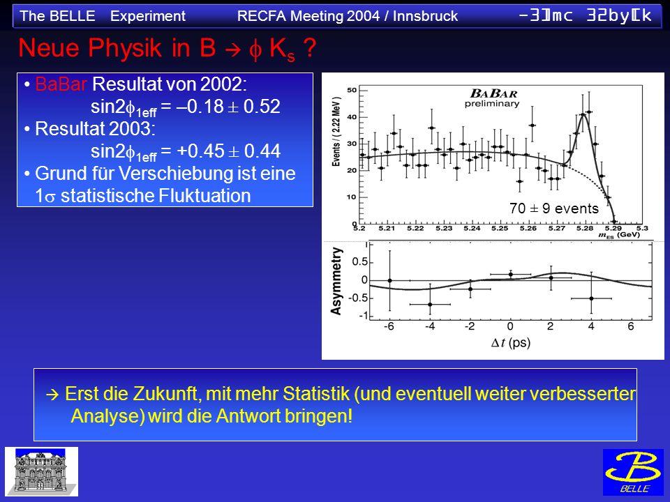 The BELLE Experiment RECFA Meeting 2004 / Innsbruck -3]mc 32by[k Neue Physik in B K s ? sin2 1 (NEW World Av.) =0.736±0.049 Erst die Zukunft, mit mehr