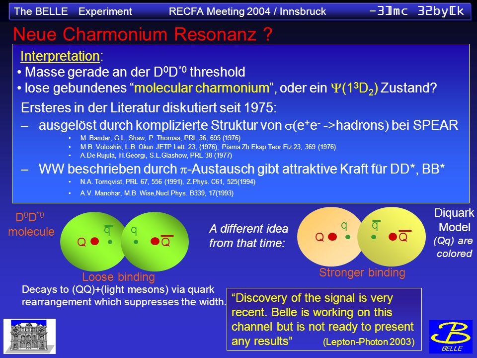 The BELLE Experiment RECFA Meeting 2004 / Innsbruck -3]mc 32by[k Neue Charmonium Resonanz ? sin2 1 (NEW World Av.) =0.736±0.049 Interpretation: Masse