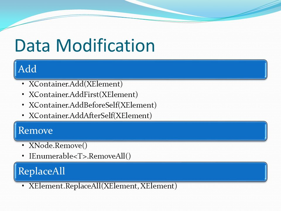 Data Modification Add XContainer.Add(XElement) XContainer.AddFirst(XElement) XContainer.AddBeforeSelf(XElement) XContainer.AddAfterSelf(XElement) Remo