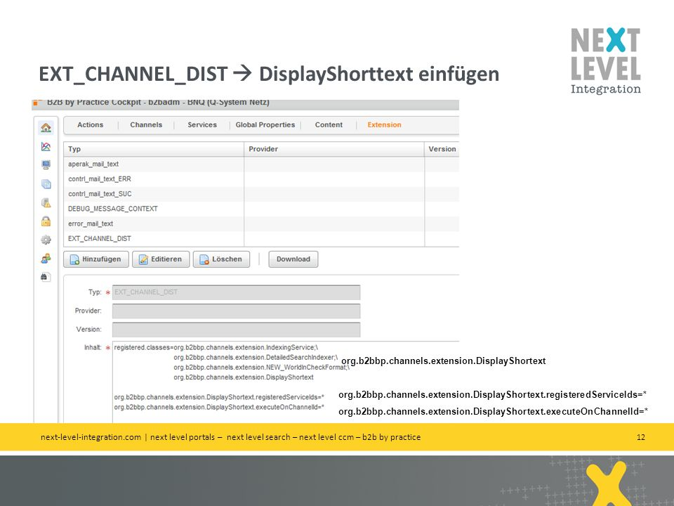 12 EXT_CHANNEL_DIST DisplayShorttext einfügen next-level-integration.com | next level portals – next level search – next level ccm – b2b by practice o