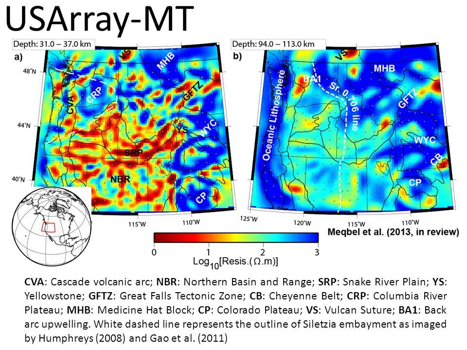 CVA: Cascade volcanic arc; NBR: Northern Basin and Range; SRP: Snake River Plain; YS: Yellowstone; GFTZ: Great Falls Tectonic Zone; CB: Cheyenne Belt;
