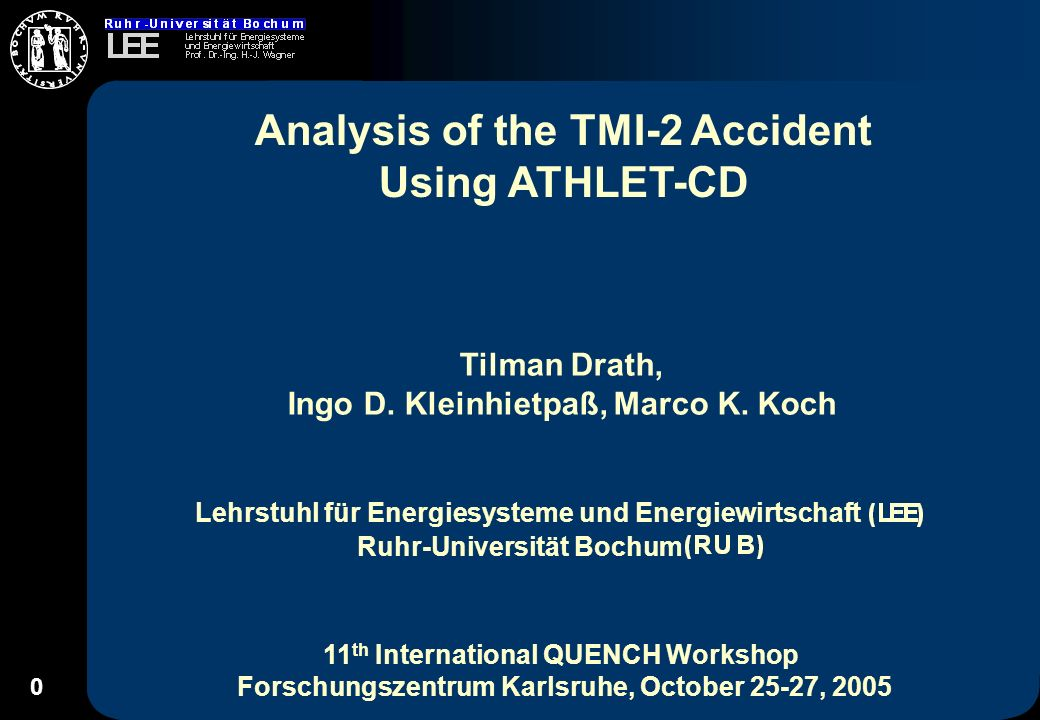 1 Outline TMI-2 Accident ATHLET-CD Short Description Modelling with ATHLET-CD Calculational Results Conclusions