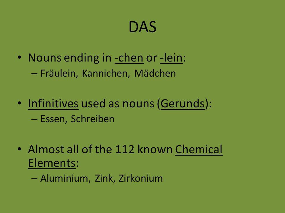 DAS Nouns ending in -chen or -lein: – Fräulein, Kannichen, Mädchen Infinitives used as nouns (Gerunds): – Essen, Schreiben Almost all of the 112 known Chemical Elements: – Aluminium, Zink, Zirkonium