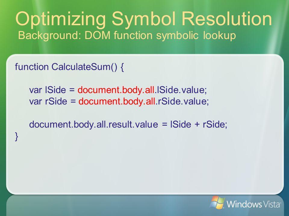 Optimizing Symbol Resolution Background: DOM function symbolic lookup function CalculateSum() { var lSide = document.body.all.lSide.value; var rSide = document.body.all.rSide.value; document.body.all.result.value = lSide + rSide; }