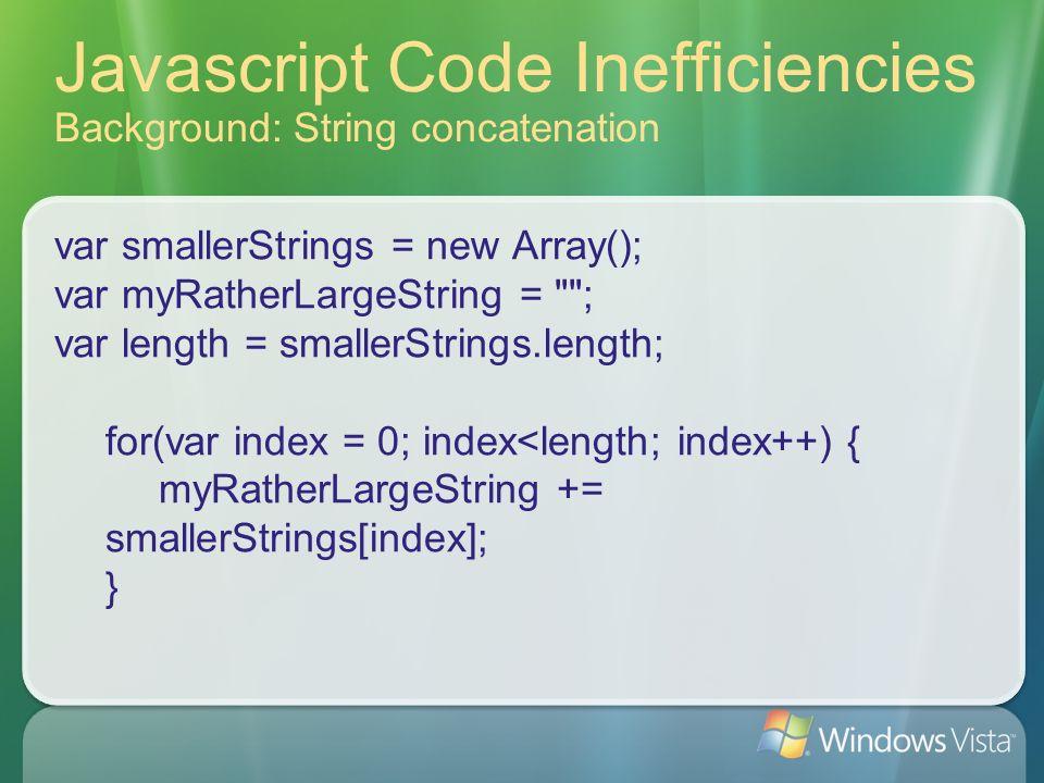 Javascript Code Inefficiencies Background: String concatenation var smallerStrings = new Array(); var myRatherLargeString = ; var length = smallerStrings.length; for(var index = 0; index<length; index++) { myRatherLargeString += smallerStrings[index]; }