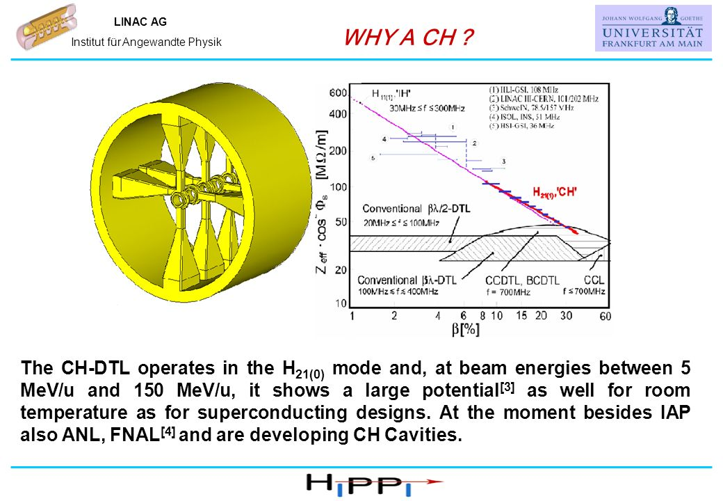 Name, IAP, Universität Frankfurt LINAC AG Institut für Angewandte Physik WHY A CH ? The CH-DTL operates in the H 21(0) mode and, at beam energies betw