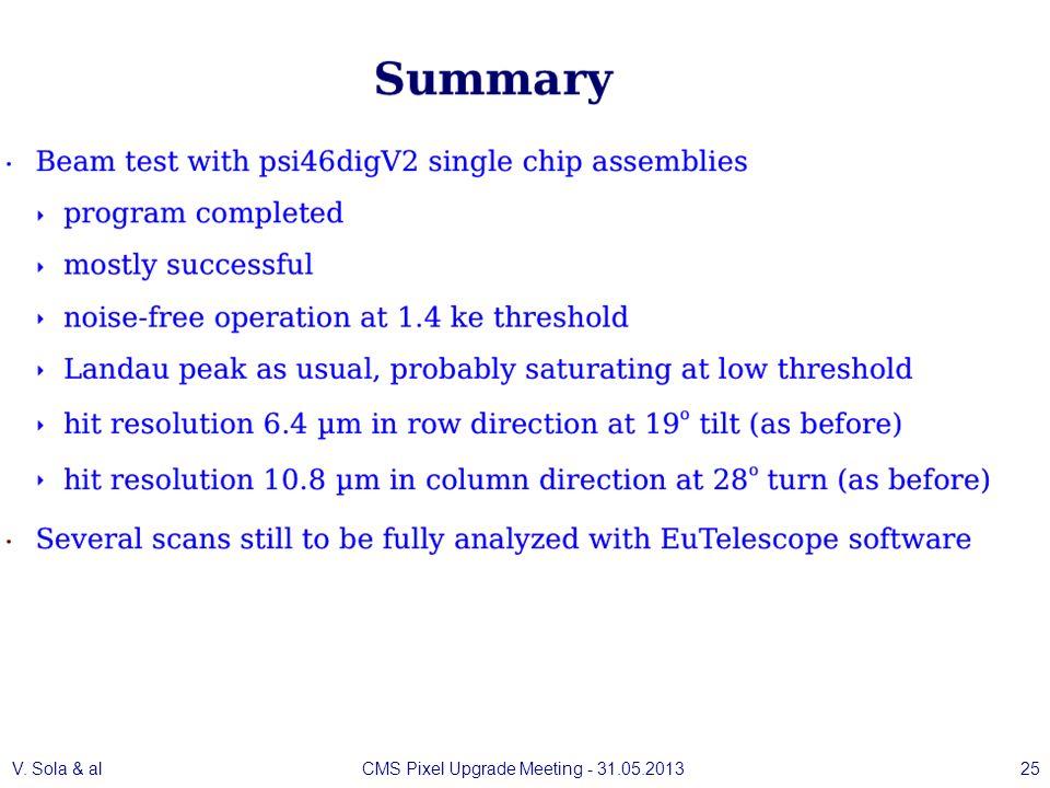 V. Sola & alCMS Pixel Upgrade Meeting - 31.05.201325