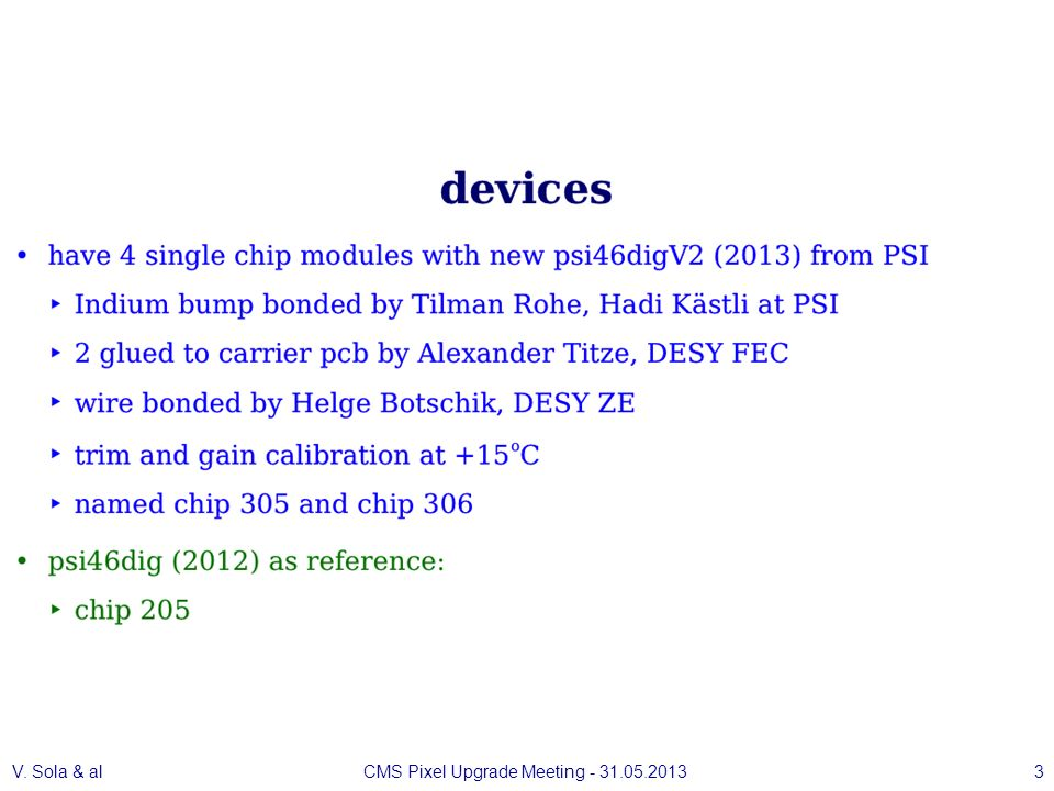 V. Sola & alCMS Pixel Upgrade Meeting - 31.05.20133