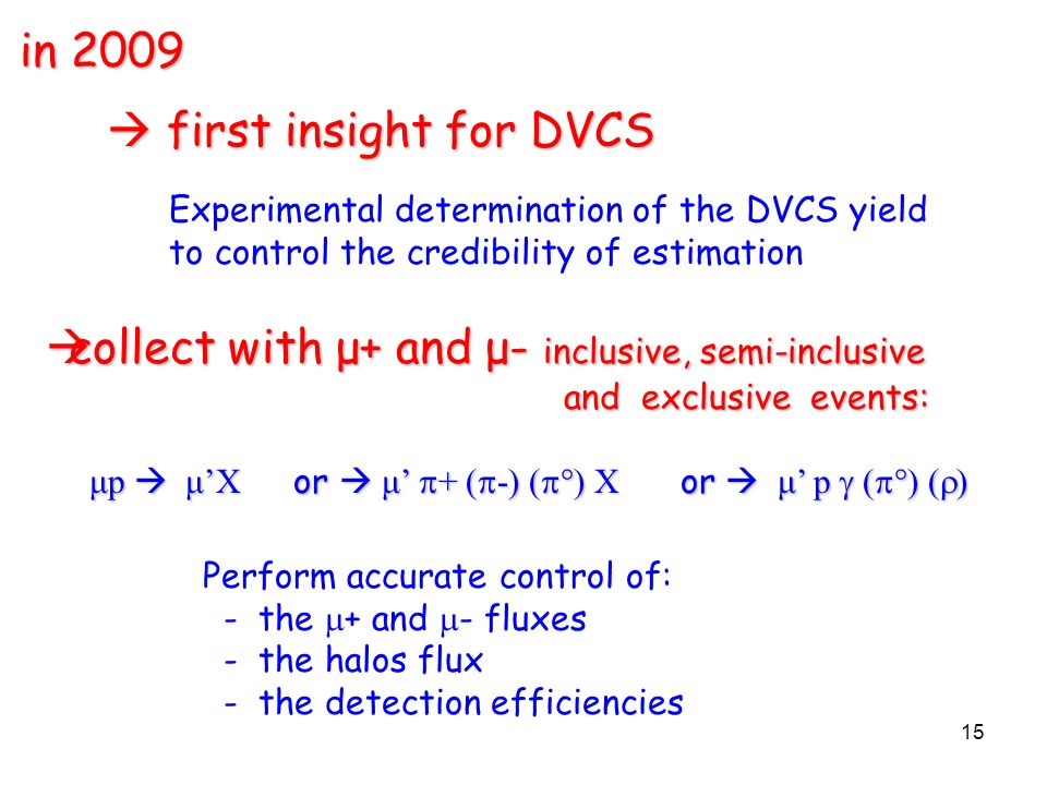 first insight for DVCS first insight for DVCS Experimental determination of the DVCS yield to control the credibility of estimation in 2009 15 Perform accurate control of: - the + and - fluxes - the halos flux - the detection efficiencies collect with μ+ and μ- inclusive, semi-inclusive collect with μ+ and μ- inclusive, semi-inclusive and exclusive events: and exclusive events: μp μX or μ + ( -) ( °) X or μ p ( °) ( ) μp μX or μ + ( -) ( °) X or μ p ( °) ( )