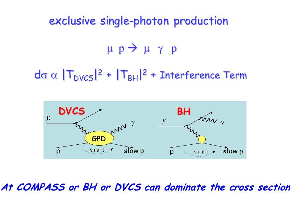 exclusive single-photon production μ p μ p d |T DVCS | 2 + |T BH | 2 + Interference Term d |T DVCS | 2 + |T BH | 2 + Interference Term DVCS small t p