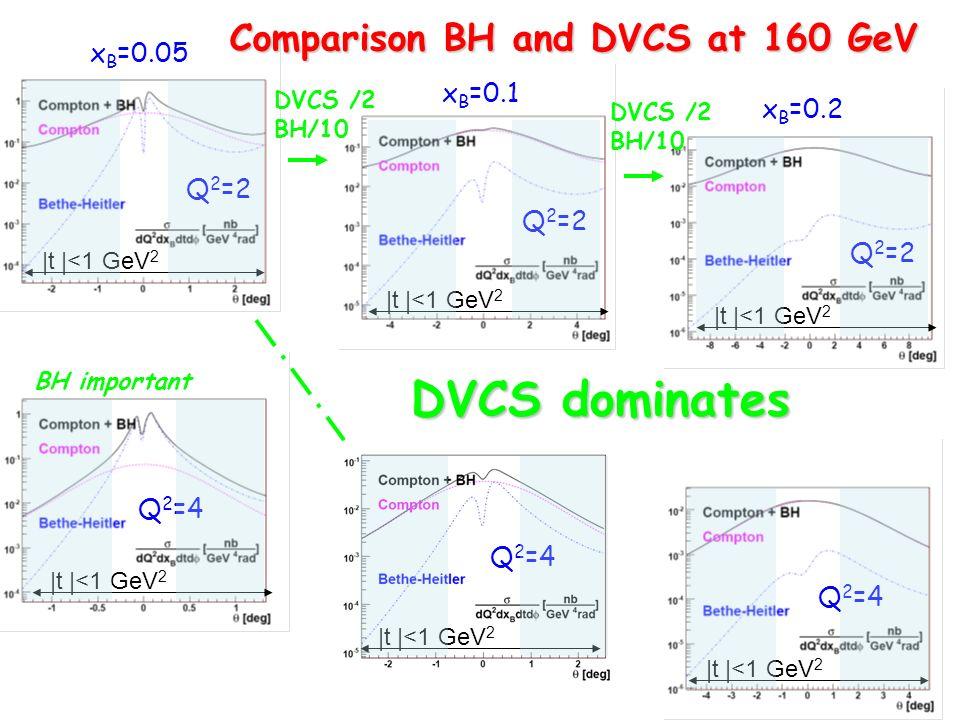 |t |<1 GeV 2 x B =0.05 x B =0.1 x B =0.2 Q 2 =2 Q 2 =4 DVCS dominates BH important |t |<1 GeV 2 DVCS /2 BH/10 DVCS /2 BH/10 Comparison BH and DVCS at 160 GeV