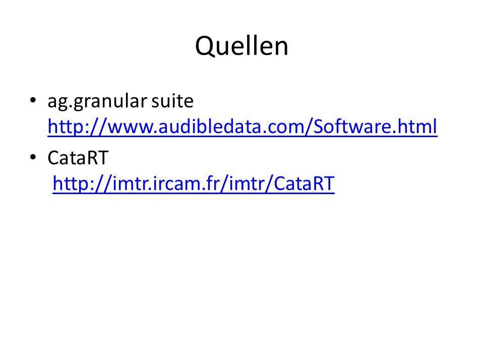 Quellen ag.granular suite http://www.audibledata.com/Software.html http://www.audibledata.com/Software.html CataRT http://imtr.ircam.fr/imtr/CataRThttp://imtr.ircam.fr/imtr/CataRT
