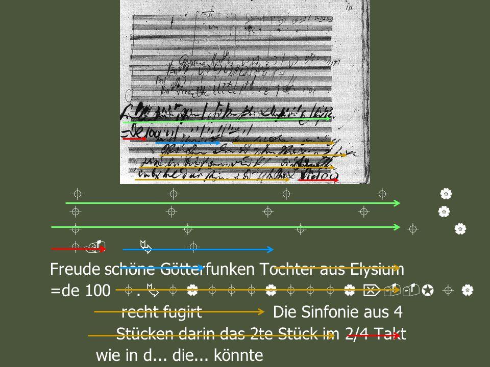 . Freude schöne Götterfunken Tochter aus Elysium =de 100. recht fugirt Die Sinfonie aus 4 Stücken darin das 2te Stück im 2/4 Takt wie in d... die... k