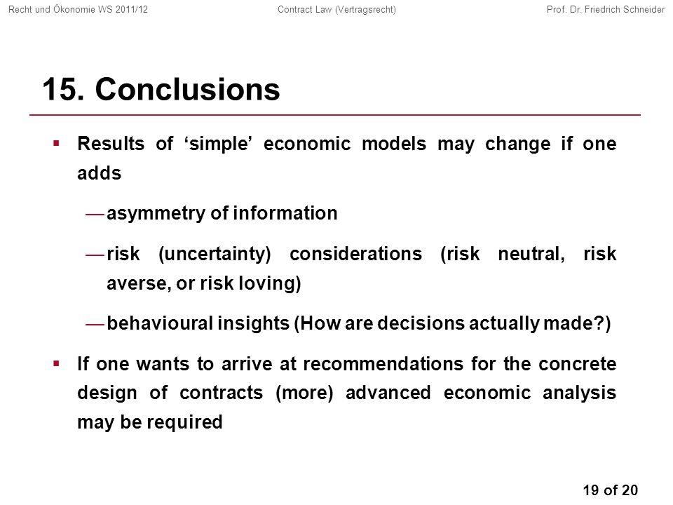 19 of 20 Recht und Ökonomie WS 2011/12Contract Law (Vertragsrecht)Prof.