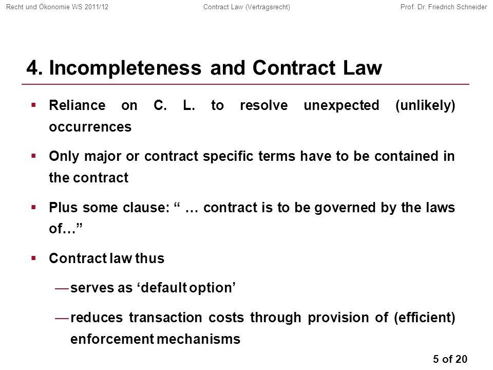 5 of 20 Recht und Ökonomie WS 2011/12Contract Law (Vertragsrecht)Prof.