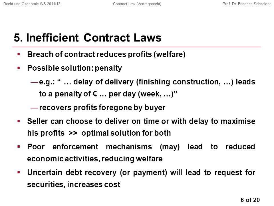 6 of 20 Recht und Ökonomie WS 2011/12Contract Law (Vertragsrecht)Prof.