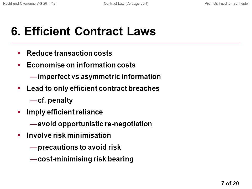 7 of 20 Recht und Ökonomie WS 2011/12Contract Law (Vertragsrecht)Prof.