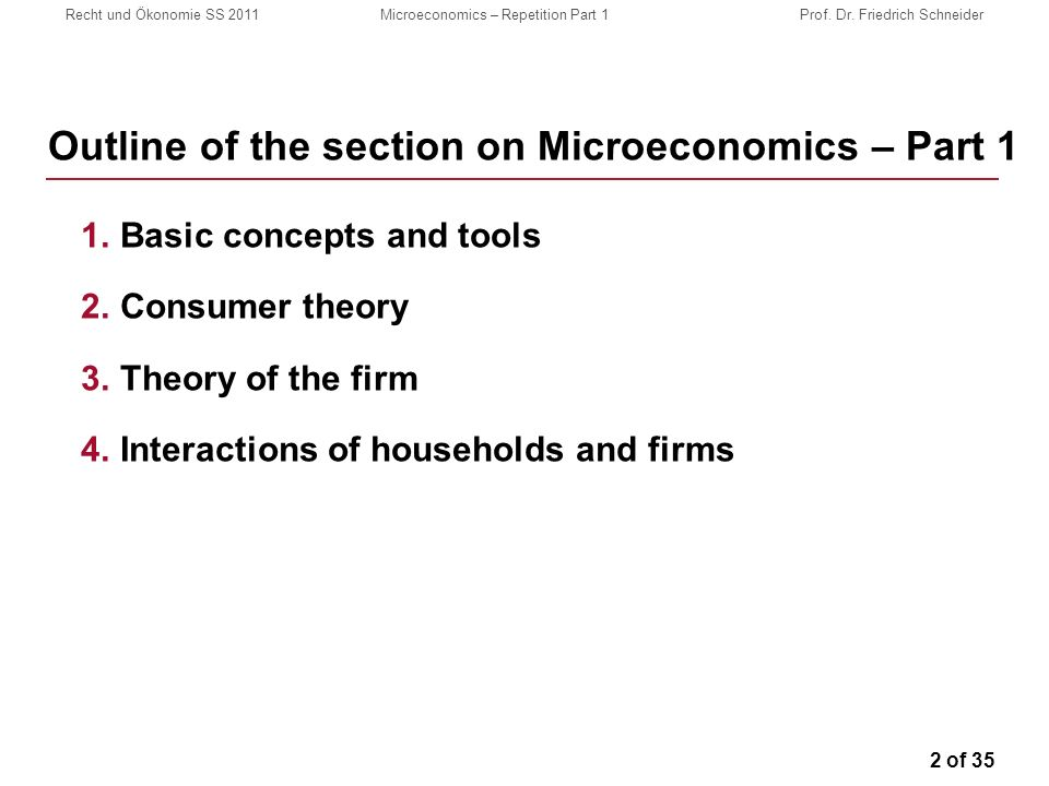 2 of 35 Recht und Ökonomie SS 2011Microeconomics – Repetition Part 1Prof.