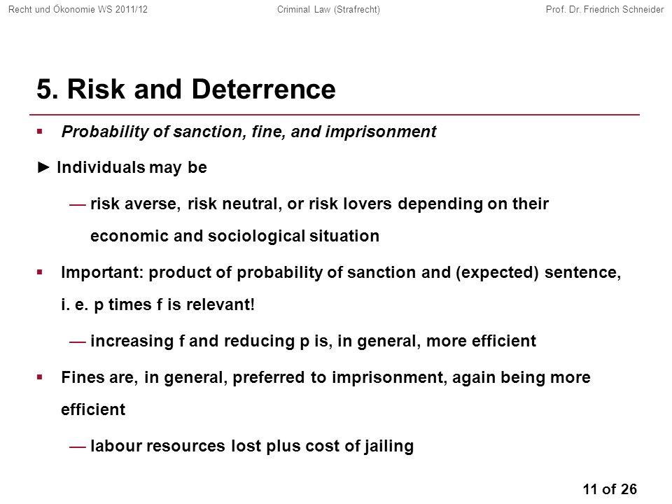 11 of 26 Recht und Ökonomie WS 2011/12Criminal Law (Strafrecht)Prof.
