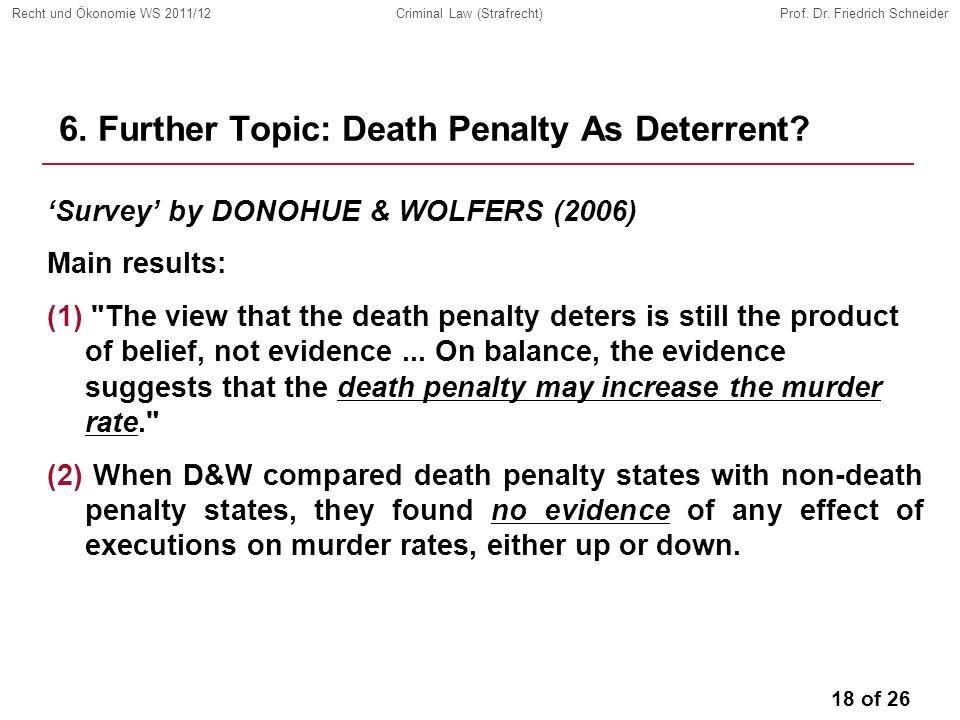 18 of 26 Recht und Ökonomie WS 2011/12Criminal Law (Strafrecht)Prof.