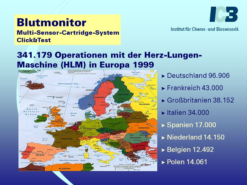 Blutmonitor Multi-Sensor-Cartridge-System Click&Test Operationen mit der Herz-Lungen-Maschine (HLM) in den deutschen Herzzentren 2000