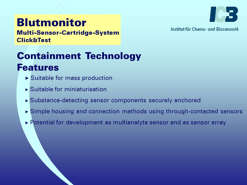Blutmonitor Multi-Sensor-Cartridge-System Click&Test Containment Technology .