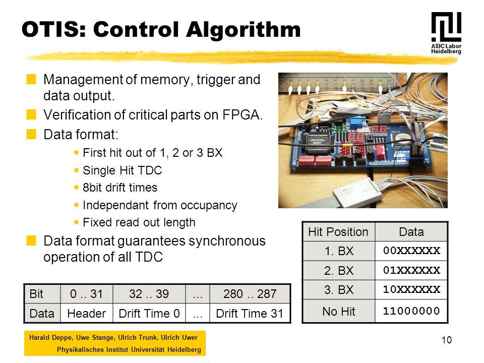 Harald Deppe, Uwe Stange, Ulrich Trunk, Ulrich Uwer Physikalisches Institut Universität Heidelberg 10 OTIS: Control Algorithm Management of memory, trigger and data output.