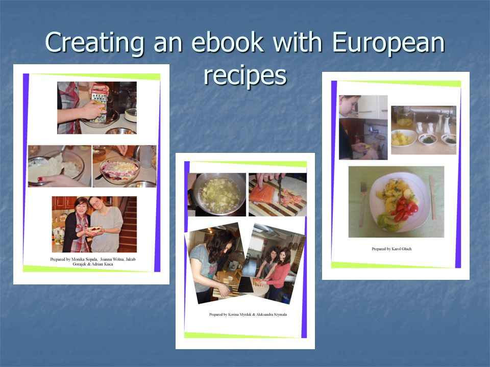 Creating an ebook with European recipes