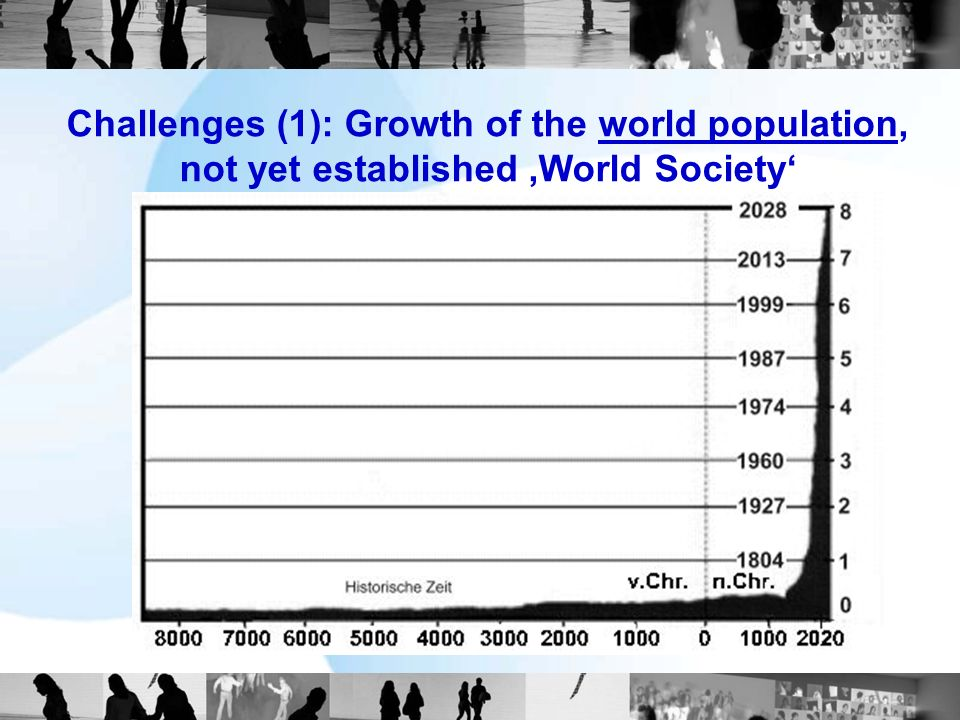 Challenges (1): Growth of the world population, not yet established World Society