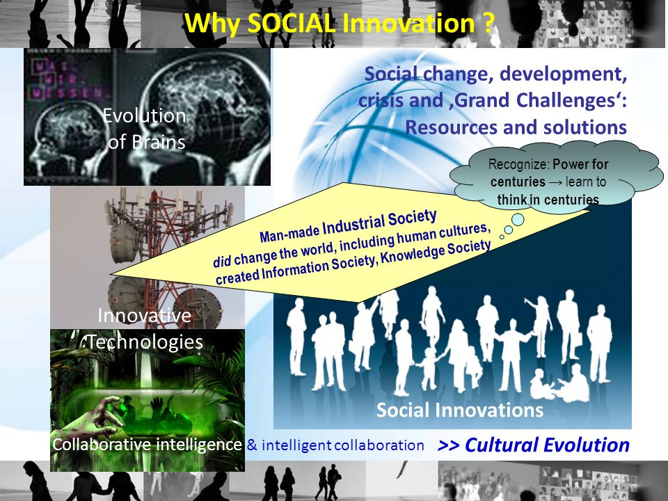 Social change, development, crisis and Grand Challenges: Resources and solutions Evolution of Brains Innovative Technologies Why SOCIAL Innovation ? S