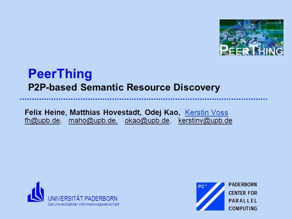 UNIVERSITÄT PADERBORN Die Universität der Informationsgesellschaft PeerThing: P2P-based Semantic Resource Discovery Agenda Motivation System Design and Workflow Implementation Details Conclusion